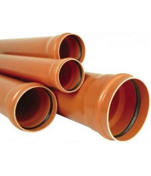 Канализационная труба ПВХ наружная раструбная 160х3,6х6000 кирп.